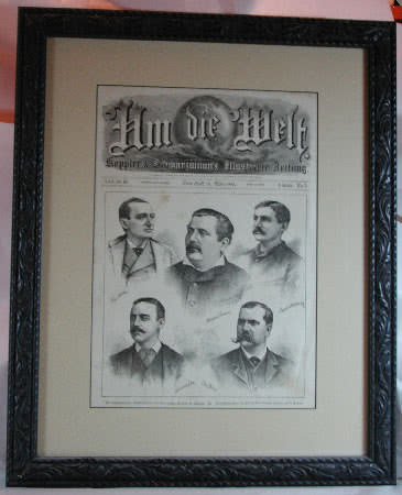 Antique German Billiard Champions Engraving 1881