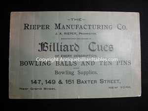 Antique J.A. Rieper Billiard Pool Cue Catalog