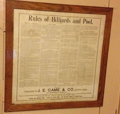 Antique J .E. Came Billiard Rules Poster
