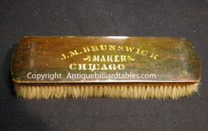 Antique J.M. Brunswick Chicago Billiard Pool Table Brush