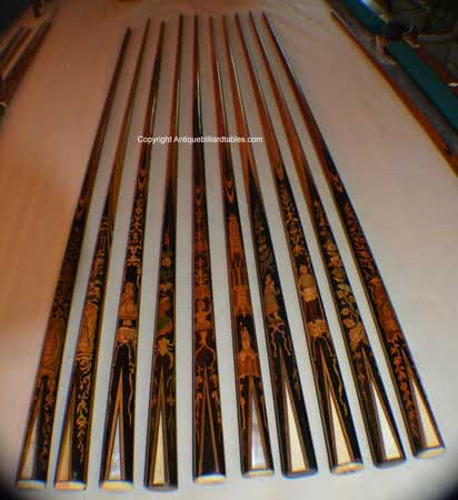 Antique European Marquetry Billiard Cues