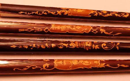 Antique Marquetry Billiard Cues