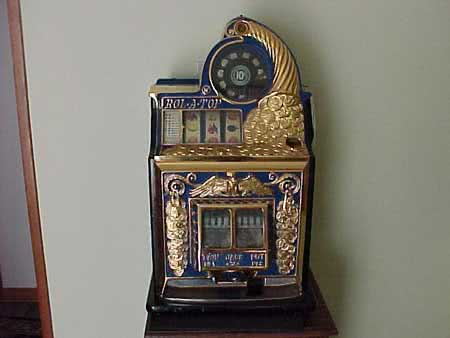 Antique Waitling Gold Plated Front Coin Front Rol A Top Slot Machine