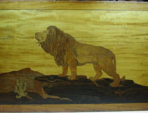 Antique Brunswick Balke Collender Company Lion Marquetry
