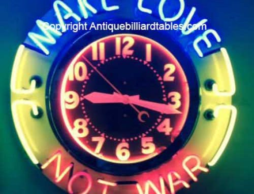 Collectible Neon Clock Make Love Not War 1950s