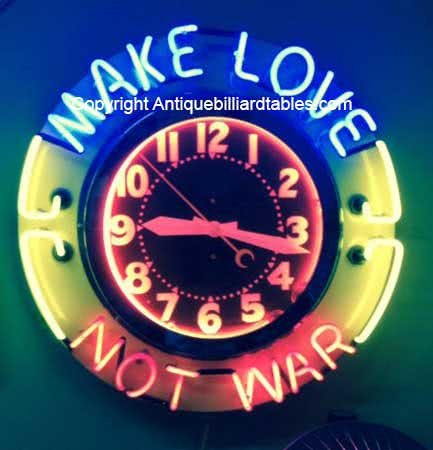 Collectible Game Room Make Love Not War Neon Clock